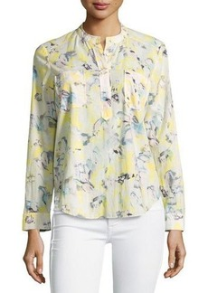 Rebecca Taylor Long-Sleeve Printed Cotton Blouse