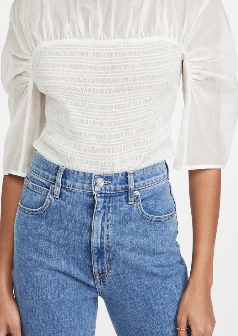 Rebecca Taylor Long Sleeve Ruched Organza Blouse