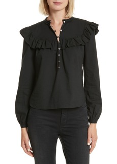 Rebecca Taylor Long Sleeve Ruffle Poplin Blouse