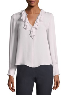 Rebecca Taylor Long-Sleeve Ruffled Georgette Blouse