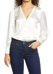 Rebecca Taylor Long Sleeve Silk Charmeuse Top