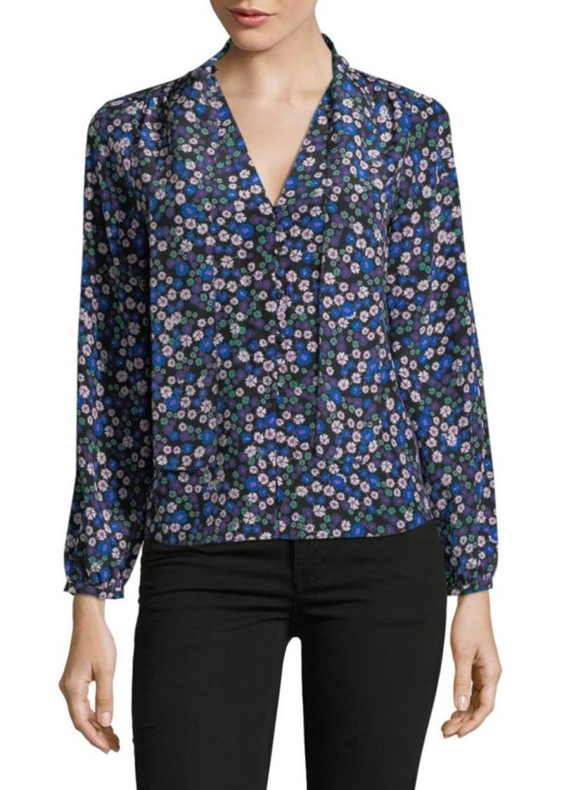 deb1221de840 Rebecca Taylor Long-Sleeve Silk Floral Blouse