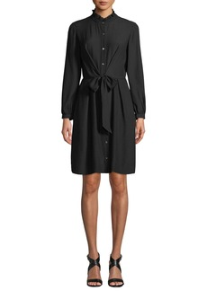 Rebecca Taylor Long-Sleeve Silk Tie-Front Shirtdress