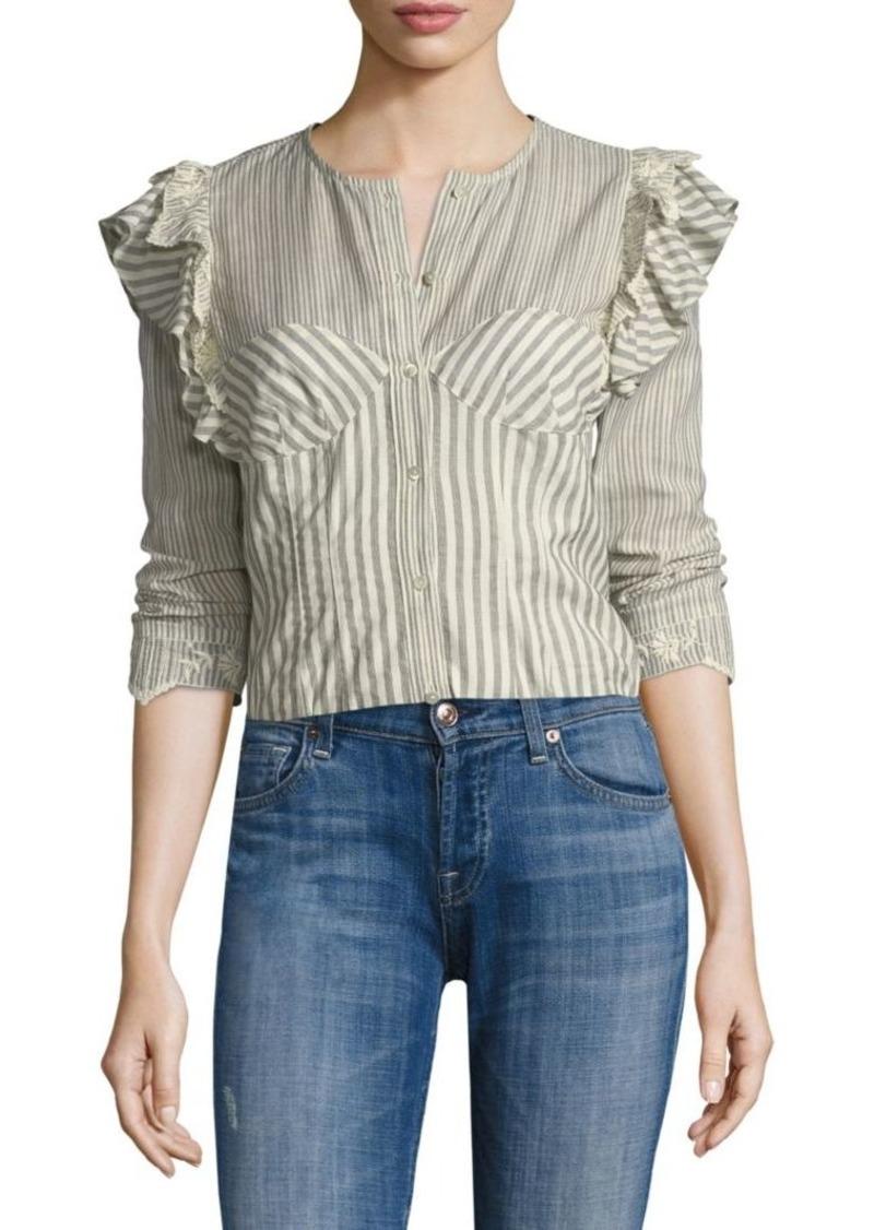 79019d9e279ddb SALE! Rebecca Taylor Long Sleeve Stripe Cotton Eyelet Top