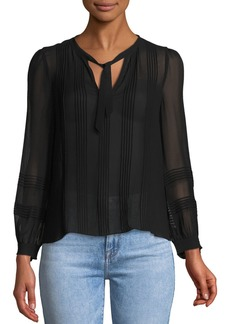 Rebecca Taylor Long-Sleeve V-Neck Chiffon Top