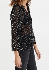 Rebecca Taylor Long Sleeve Velvet Dot Blouse