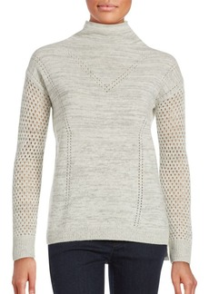 Rebecca Taylor Long Sleeve Wool-Blend Knit Sweater