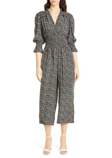 Rebecca Taylor Louisa Floral Long Sleeve Silk Jumpsuit