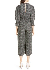 Rebecca Taylor Louisa Floral Long Sleeve Silk Jumpsuit