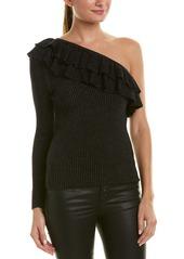 Rebecca Taylor Lurex One-Shoulder Wool-Blend Sweater