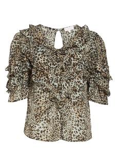 Rebecca Taylor Lynx Ruffle Silk Blend Top