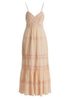 Rebecca Taylor Macramé-lace panelled cotton dress