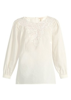 Rebecca Taylor Macramé-lace panelled cotton top