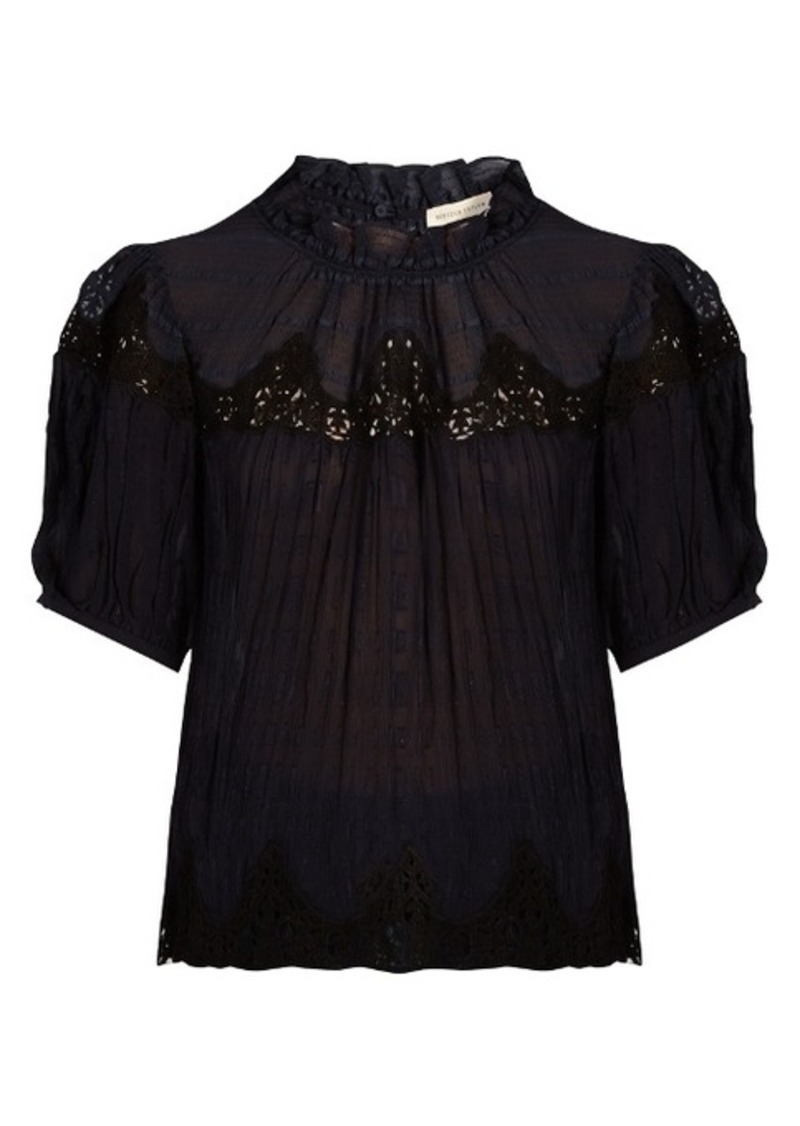 Rebecca Taylor Macramé-lace panelled silk blouse