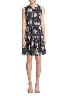 Rebecca Taylor Magnolia Floral-Print Button-Front Dress