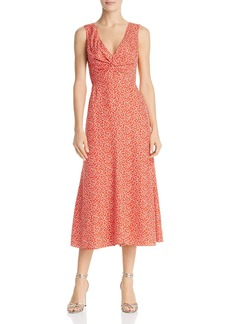 Rebecca Taylor Malia Twist-Front Floral Dress