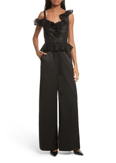Rebecca Taylor Malorie Off the Shoulder Embroidered Silk Jumpsuit