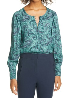 Rebecca Taylor Margaux Paisley Balloon Sleeve Silk Blend Top