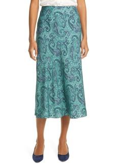 Rebecca Taylor Margaux Paisley Silk Blend Midi Slip Skirt