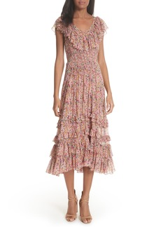 Rebecca Taylor Margo Floral Ruffled Midi Dress