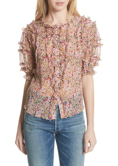Rebecca Taylor Margo Ruffle Floral Top