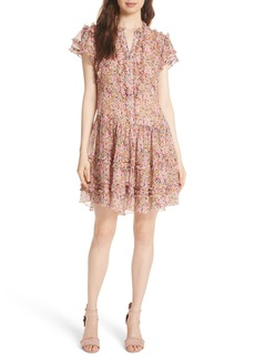 Rebecca Taylor Margo Ruffled Floral Drop Waist Dress