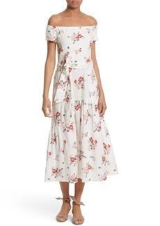 Rebecca Taylor Marguerite Floral Off the Shoulder Midi Dress