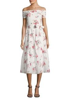 Rebecca Taylor Marguerite Floral-Print Off-The-Shoulder Cotton Dress