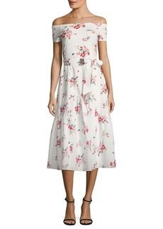 Rebecca Taylor Marguerite Floral-Print Off-The-Shoulder Dress