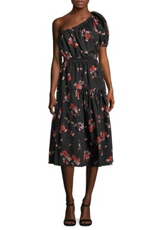 Rebecca Taylor Marguerite One-Shoulder Tiered Dress