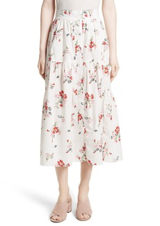 Rebecca Taylor Marguerite Poplin Midi Skirt