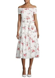 Rebecca Taylor Margurite Off-the-Shoulder Floral Jersey Midi Dress