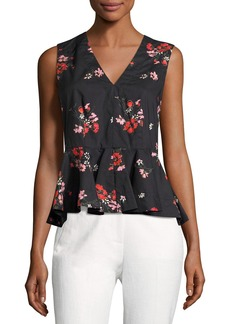 Rebecca Taylor Margurite Sleeveless Poplin Top  Black