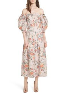 Rebecca Taylor Marlena Off the Shoulder Floral Midi Dress