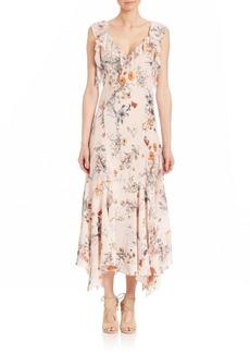 Rebecca Taylor Meadow Floral Ruffled Silk Dress