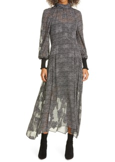 Rebecca Taylor Meadow Long Sleeve Silk Blend Chiffon Dress
