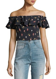 Rebecca Taylor Meadow Off-the-Shoulder Floral-Print Top