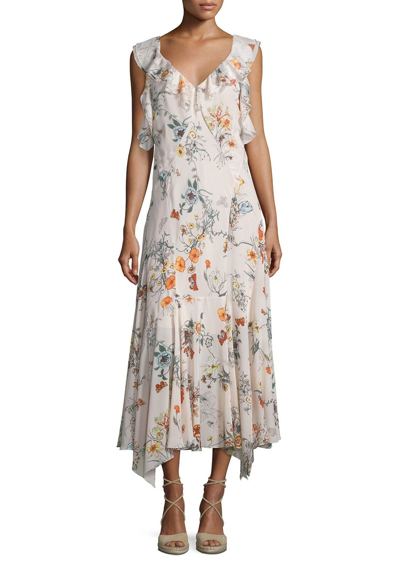 Rebecca Taylor Meadow Sleeveless Floral Silk Midi Dress