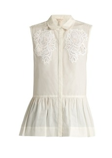 Rebecca Taylor Medallion-lace sleeveless cotton-poplin top
