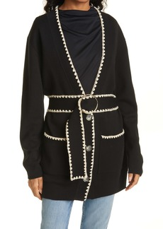 Rebecca Taylor Merino Wool Blend Belted Cardigan