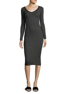 Rebecca Taylor Merino Wool Long-Sleeve Striped Rib-Knit Midi Dress