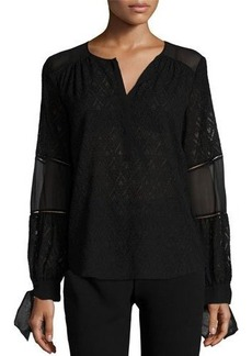 Rebecca Taylor Mesh-Inset Paneled Top