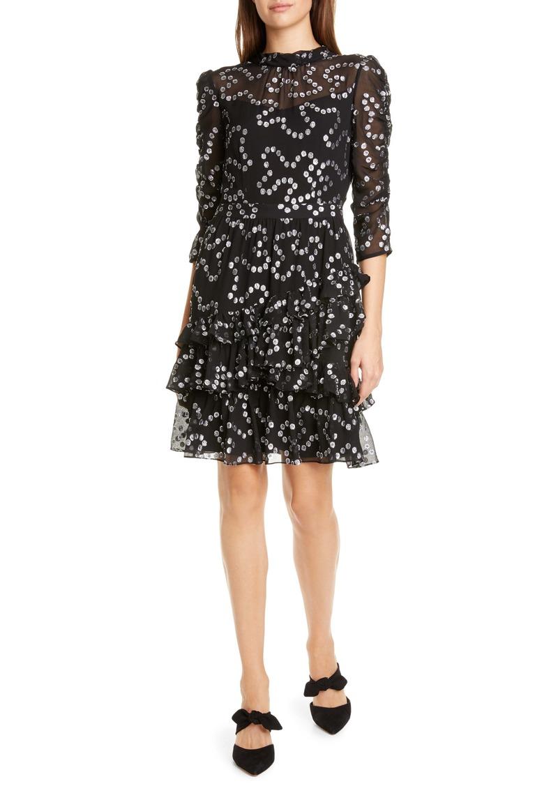 Rebecca Taylor Met Nuage Metallic Dot Ruffle Silk Blend Dress