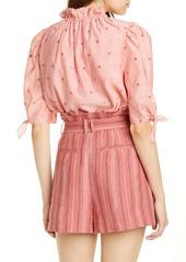 Rebecca Taylor Metallic Clip Dot Cotton & Silk Blend Top