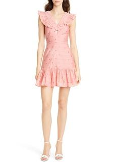 Rebecca Taylor Metallic Clip Dot Ruffle Detail Cotton & Silk Minidress