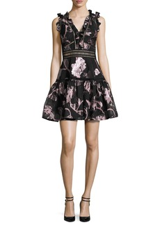 Rebecca Taylor Metallic Floral Fil Coupe Fit & Flare Dress
