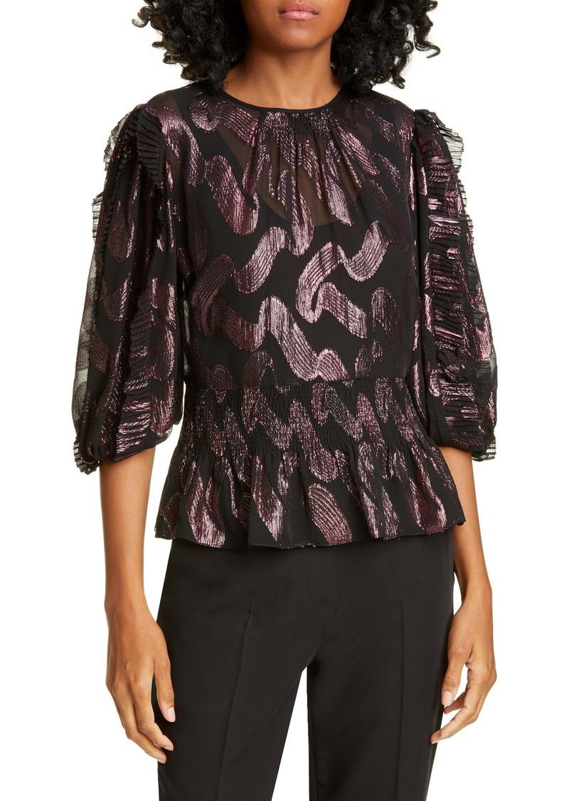 Rebecca Taylor Metallic Jacquard Ruffle Sleeve Silk Chiffon Top