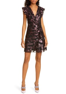Rebecca Taylor Metallic Jacquard Silk Chiffon Dress