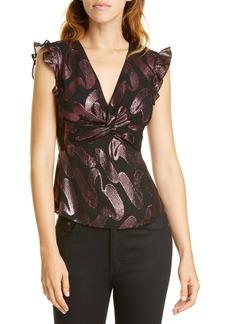 Rebecca Taylor Metallic Jacquard Silk Chiffon Peplum Top
