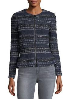 Rebecca Taylor Metallic-Knit Tweed Jacket